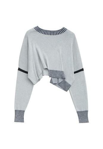 KLAPS grey Asymmetric Cropped Sweater 1C941AAD776CADGS_1