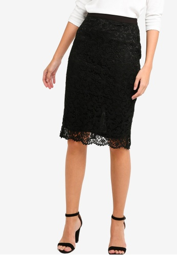ZALORA black Lace Pencil Skirt 1462FAA9F20DF0GS_1