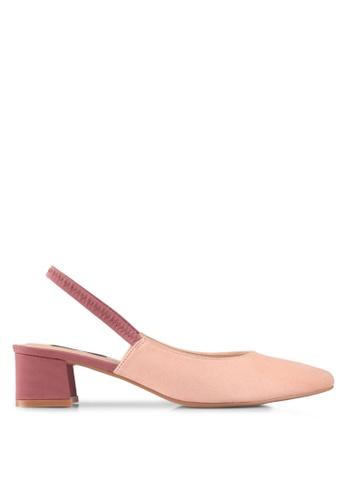 ZALORA pink Mixed Material Blocked Heels D0C0DSH8A11F93GS_1