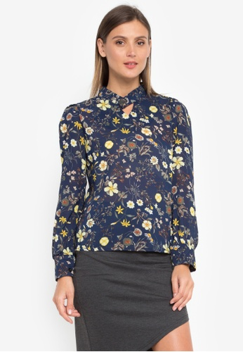 LA VIDA MODA blue and multi Marlyn Floral Longsleeve Top 11EDEAA07F7955GS_1