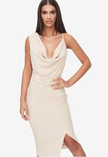 Lavish Alice beige Cowl Neck Belted Midi Dress 6029DAAF6DF73CGS_1