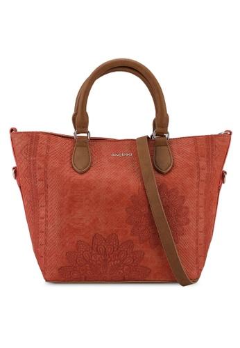 Desigual orange Reptile Embroidery Tote Bag EBCB7AC40570FCGS_1