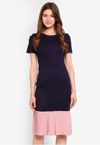 MDSCollections navy Two-Tone Dress In Navy A13B3AAACE5CE9GS_1