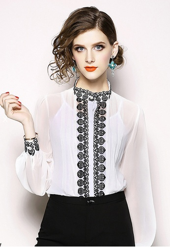 Twenty Eight Shoes white VANSA  Embroidered Long Sleeves Blouse VCW-Bs6187100 CC428AA2C64D18GS_1