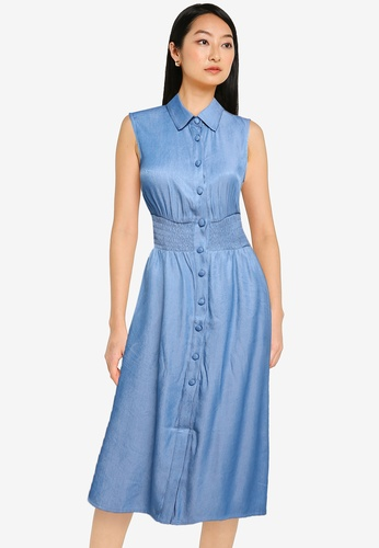 ZALORA BASICS blue Button Down Chambray Dress 35CE0AA8220208GS_1
