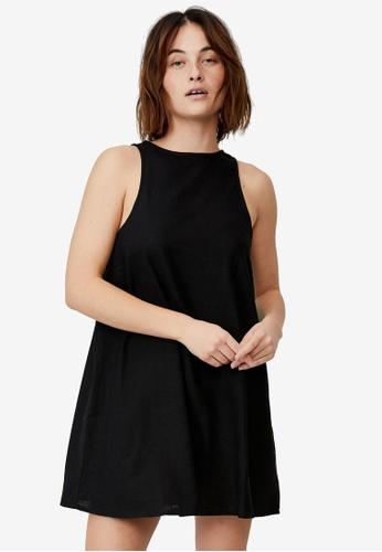 Cotton On black Woven Sunset Mini Sleeveless Shift Dress 16E8AAA562758FGS_1