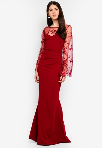 Goddiva red Floral Embroidered Long Sleeve Maxi Dress BCE4EAA8EB3D11GS_1