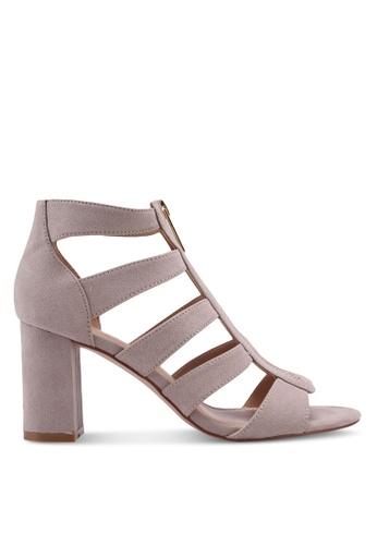 Miss KG brown Fate Zip Cutout Heels E98B2SHB575017GS_1