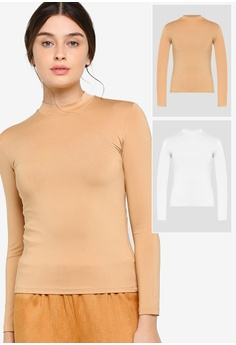27b646fc89a3fc Lubna white and beige Turtle neck long sleeve inner top 2 in 1  8E03AAAD194455GS_1