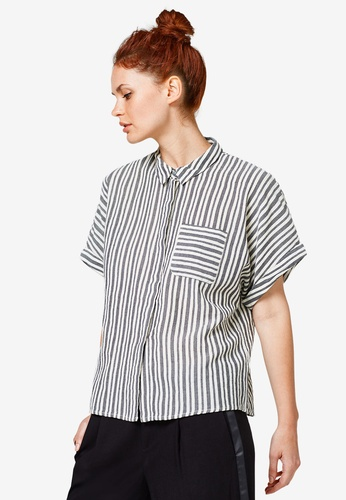 ESPRIT black Woven Short Sleeve Shirt D6393AAD914EFAGS_1
