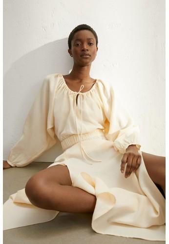 H&M yellow Long lyocell-blend dress C3DD0AAB36EEA5GS_1