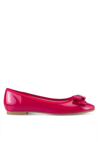 Velvet pink Faux Patent Leather Bow Flats AB58CSH67E13E6GS_1