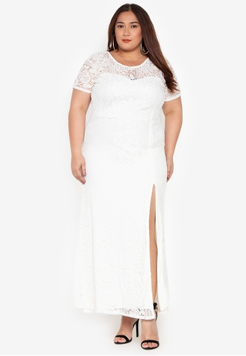 0b8d2e94b8e Ashley Collection Plus beige Plus Size Lace With Sleeves High Slit Maxi  Dress B16D3AA9172911GS 1