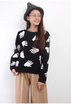 Abstract Palm Print Sweatshirt