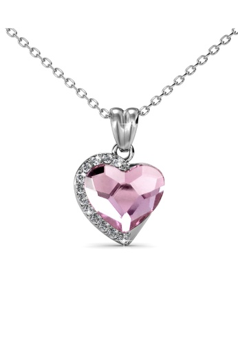 Her Jewellery silver Fond Love Pendant (Light Pink) - Made with premium grade crystals from Austria HE210AC0GFHOSG_1