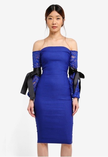 Vesper blue Stevie Bardot Dress With Lace Sleeves 3AA36AA4F21D40GS_1