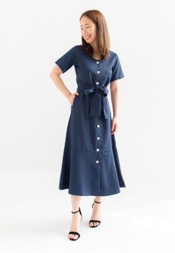 Love Knot blue Shanice Button Down Dress (Navy) C30C2AA9590C91GS_1