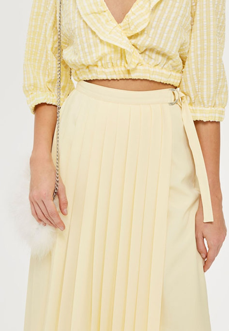 Light Asymmetric Midi Pleat Yellow TOPSHOP Skirt AqIxR
