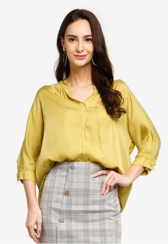 Hopeshow yellow V-Neck Chiffon Button Blouse with Back Slit 3CEC8AA2E52202GS_1