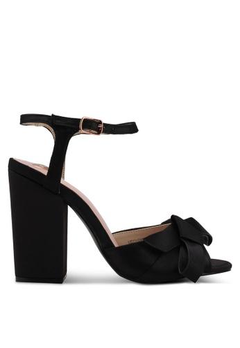 Velvet black Big Bow Ankle Strapped Heels 0685CSH0FE6860GS_1