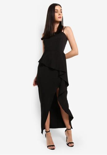 Preen & Proper black Peplum Waterfall Ruffle Maxi Dress 1F368AA5AB839FGS_1