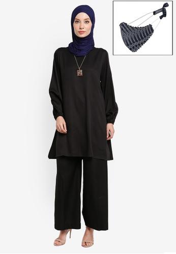 Yans Creation black Diya Tunic Set With Free Selendang And Reusable Mask 04647AA6F6BB62GS_1