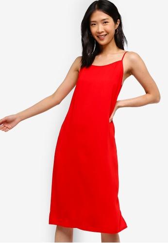 ZALORA BASICS red Basic Cami Midi Dress 0BF24AAC5E3F61GS_1