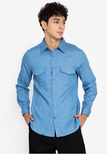 ZALORA BASICS blue Cowboy Shirt 929F0AA21C8EF6GS_1