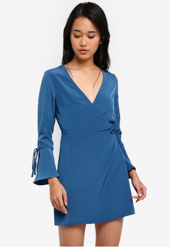 TOPSHOP blue Petite Wrap Dress E5482AA68E4459GS_1
