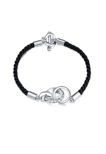 ADORA black and silver Swarovski Leather Bracelet AD365AC11DAAHK_1