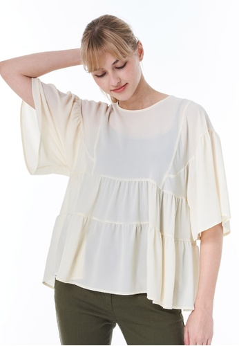 Sisley white Blouse with Frills 60938AA4FEA381GS_1