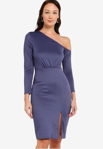 ZALORA OCCASION blue Asymmetric Bodycon Dress 7FFD8AACFD3CDCGS_1