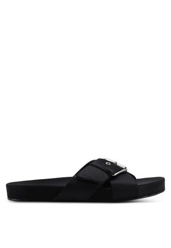 NA-KD 黑色 Buckle Detail 綢緞拖鞋 9B24DSH7814E44GS_1