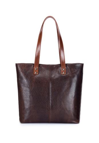ENZODESIGN brown Antique Two Tone Buffalo Leather Tote EN357AC0FVT9SG_1