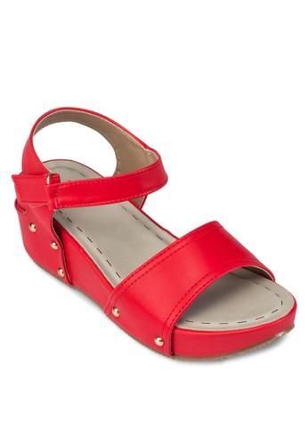 交叉帶扣環楔型跟涼鞋, 女鞋,esprit 會員 鞋