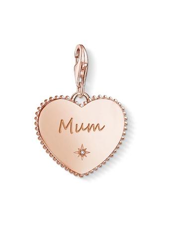 """THOMAS SABO beige Charm pendant """"Heart mum rose gold"""" 7A59FAC2FB91D4GS_1"""