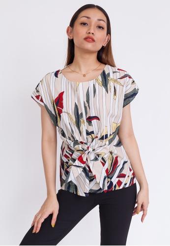 Hook Clothing multi and beige Floral Print Tie Blouse 5B5F1AAEFF040EGS_1