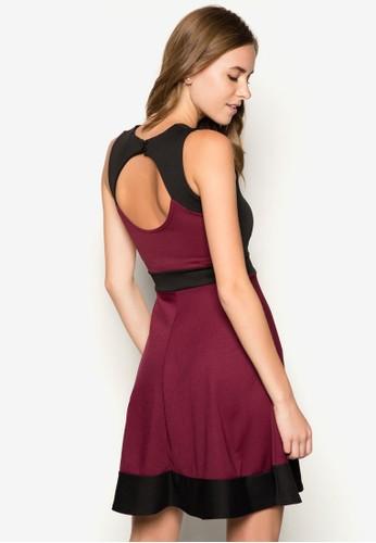 露背拼色傘擺連身裙, zalora 手錶 評價服飾, 洋裝