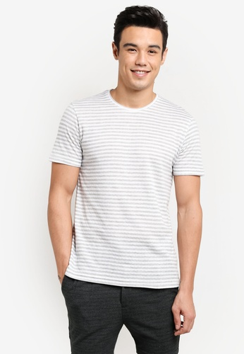 ZALORA grey and white Striped Tee 41D95AA8883495GS_1
