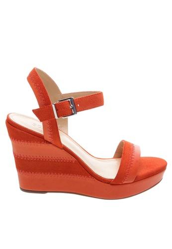 SCHUTZ red Deep Red Wedge Sandals - BROOKLYN [HOT TANGO] C2D74SH64DF89DGS_1