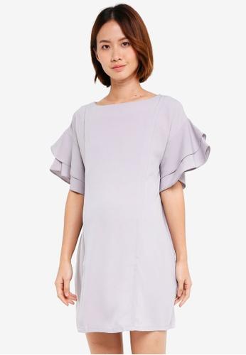 863310a92be Spring Maternity grey Maternity Flare Sleeve Yulia Nursing Dress  4AE78AAC51B546GS 1
