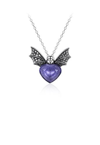 Glamorousky purple 925 Sterling Silver Retro Elegant Fashion Bat Pendant and Necklace with Purple Austrian Element Crystal 07ED0AC041DBB2GS_1