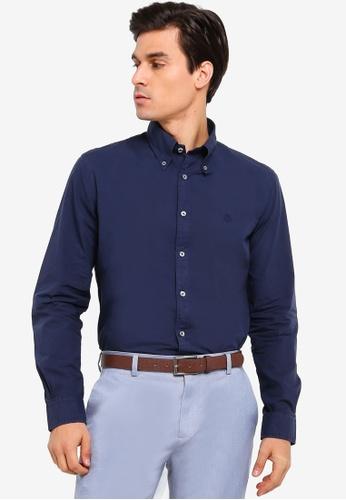 Brooks Brothers navy Milano Fit Garment Dye Poplin Sport Shirt 1F7B9AAB18F30AGS_1