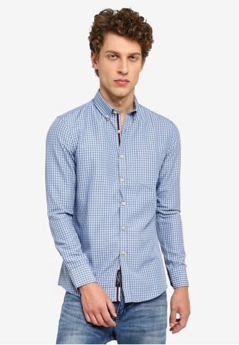 UniqTee blue Checkered Long Sleeve Shirt 18B4EAAE618F84GS_1