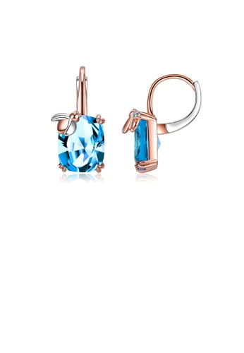 Glamorousky blue Fashion Simple Plated Rose Gold Geometric Square Ladybug Earrings with Blue Cubic Zirconia 3512DAC79143ECGS_1