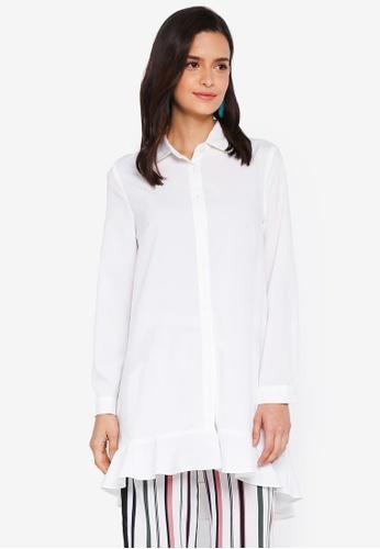 Lubna white Overlap Back Shirt Dress 8854CAA7B6BE8DGS_1