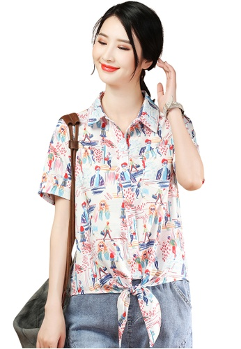 A-IN GIRLS white and multi Short Sleeve Tie Print Blouse 38F39AA45AA8E2GS_1