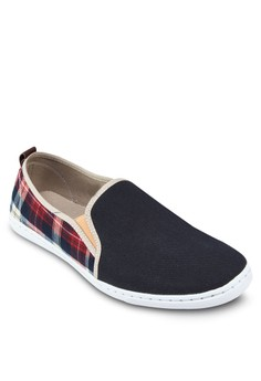 Canvas Slip Ons With Tartan Details