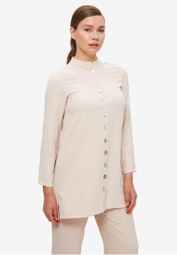 Trendyol 米褐色 鈕釦 Detail Tunic上衣 3D504AA2637873GS_1