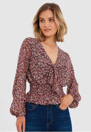 FORCAST multi Vayda Sheer Sleeve Floral Blouse 9C832AACE724E8GS_1